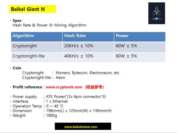 Baikal Giant N спецификация